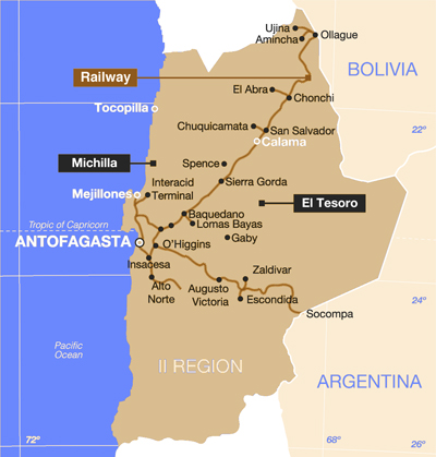 With The FCAB Through The Atacama Desert - Argentina rail network map